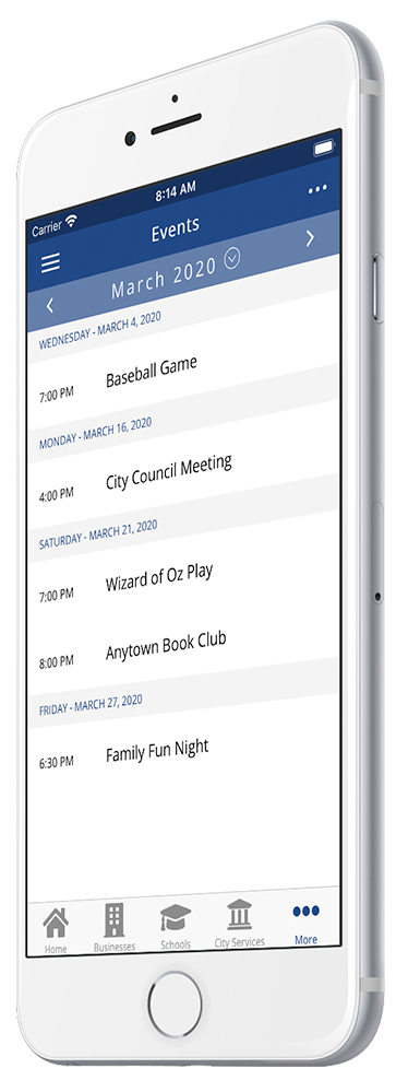 rTown Community Mobile App Events