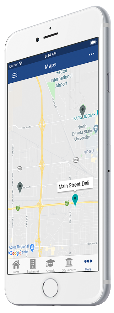 rTown Community Mobile App Maps